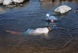Her fanges fisk med håndnet